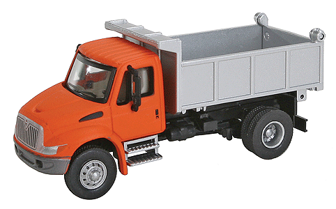 Walthers SceneMaster 949-11633 International 4300 Single-Axle Dump Truck - Assembled (Orange Cab, Silver Dump Bed), HO