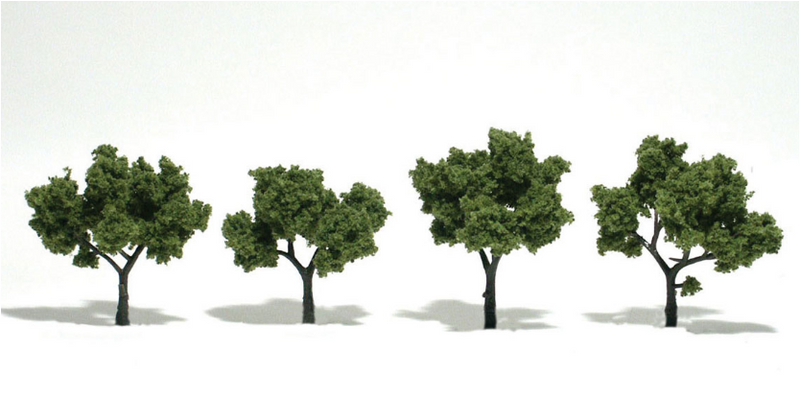 Woodland Scenics 1503 Ready Made Lt Green Trees 2'-3' (4 Pack)