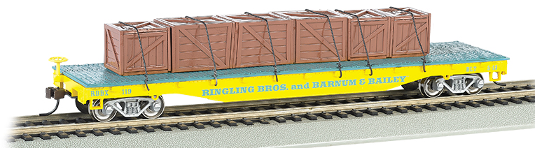 Bachmann 16605 Ringling Bros. and Barnum & Bailey Flat Car w/ Crates - Yellow, HO