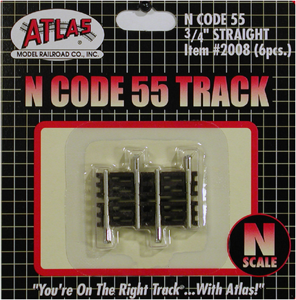 Atlas 2008 C55 .75' STRAIGHT TRACK 6pc, N Scale