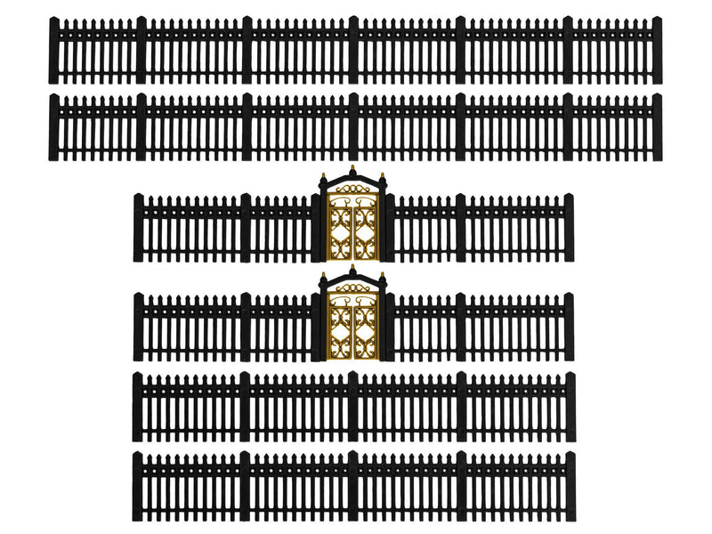 Lionel 2057140 HO Iron Fence - Black, HO Scale