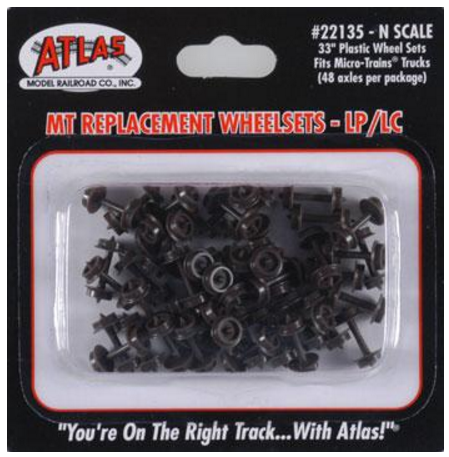 Atlas Model Railroad Co. 22135  PLASTIC 33' WHEELS MT 48pc, N Scale