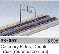 Kato N Scale Unitrack 23057 - Catenary Poles, Double Track Plate [11 pcs] - Bases not included.