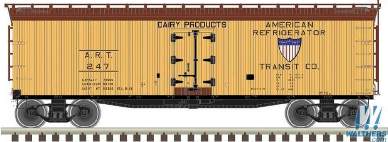 Atlas Model Railroad Co. 50003887 40' Wood Reefer - Ready to Run - Master(R) -- American Refrigerator Transit ART 244 (yellow, Boxcar Red), N Scale