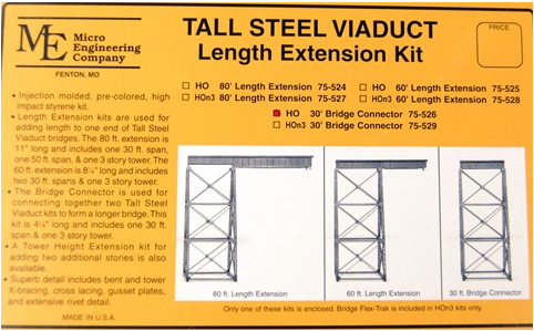 Micro Engineering 75526 Tall Steel Viaduct, 30' Connection, HO
