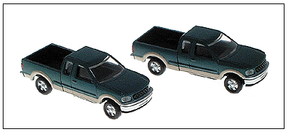 Atlas Model Railroad Co. 2947 American Trucks - Ford F-150 Pickup w/Two-Tone Paint, Package of 2 -- Green & Tan, N Scale