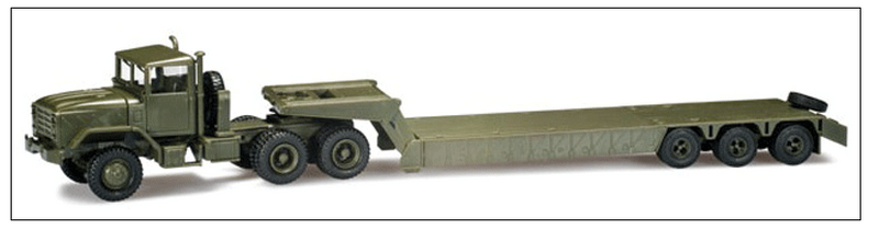 Herpa Models 326-744485 M 931 Semi Tractor w/Flatbed Trailer - Assembled -- US Army (green), HO