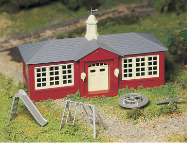 Bachmann 45611 Schoolhouse with Playground Equipment Kit, O Scale