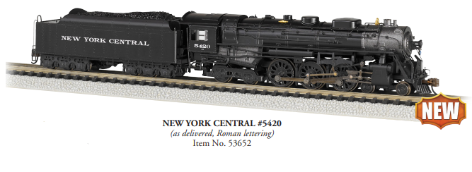 Preorder Bachmann 53652 4-6-4 Hudson - Sound and DCC -- New York Central 5420 (As-Delivered, black, graphite, Roman Lettering), N Scale