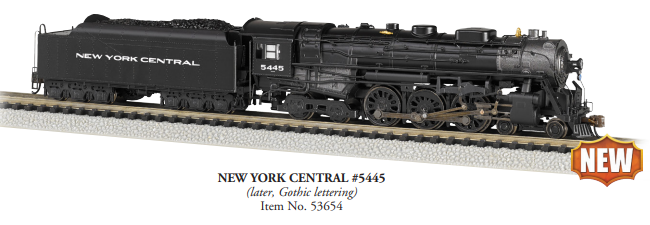 Preorder Bachmann 53654 4-6-4 Hudson - Sound and DCC -- New York Central 5445 (black, graphite, Gothic Lettering), N Scale