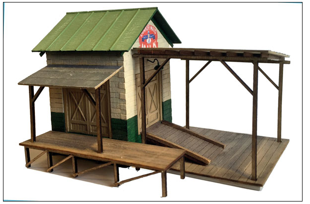 Railroad Line Models 597-9302 Farmers' Union Dairy & Produce Transfer Dock -- Laser-Cut Wood Kit, S Scale