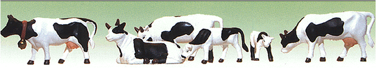 Model Power 6175 Farm Animals -- Cows & Calves (Black & White) pkg(6), O Scale