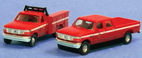 River Point Station 618-N383JL9R5 1992 Ford F Series Crew Cab Pickup and Service Truck Set - Assembled -- Fire Department (red), N Scale