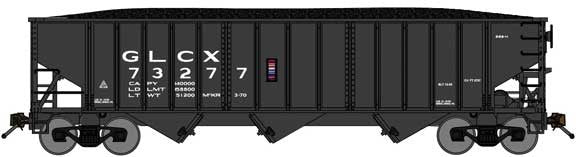 Bluford Shops BLU14581 70-Ton 3-Bay 14-Panel Hopper w/Load - Ready to Run -- Great Lakes Carbon GLCX (black), N Scale