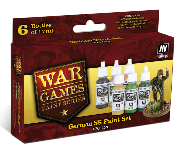 Vallejo Acrylic Paints 70158 German SS Paint Set, War Games Paint Series