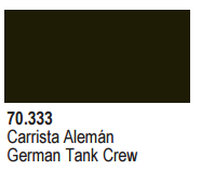 Vallejo Acrylic Paints 70333 GERMAN TANKCREW BLACK PANZ 6p