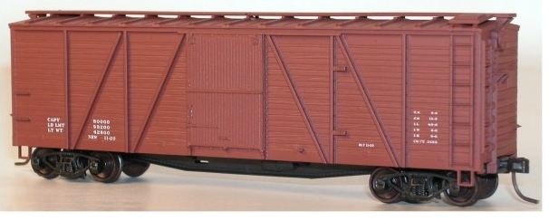 Accurail 7298 6-Panel Outside Braced Boxcar Wood Doors & Dreadnaught ends, Data Only Mineral Red, HO