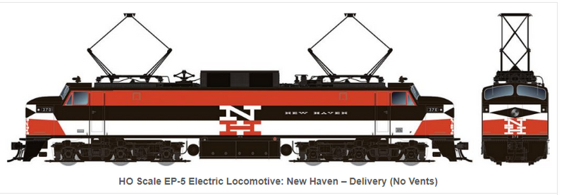 PREORDER Rapido Trains 84001EP-5 Electric Locomotive: New Haven Delivery (No Vents)