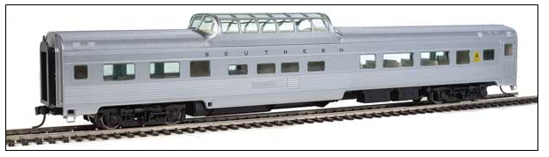 WalthersMainline 910-30403 	85' Budd Dome Coach - Ready to Run -- Southern Railway (silver), HO