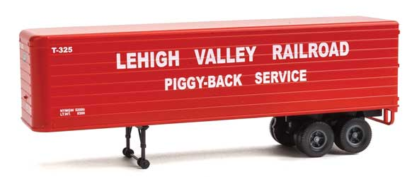 Walthers SceneMaster 949-2422 35' Fluted-Side Trailer 2-Pack - Assembled -- Lehigh Valley (red, white, Piggy-Back Service), HO