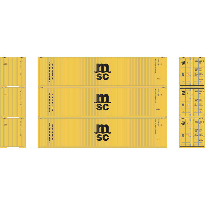 PREORDER Athearn N 40' Corrugated HC Container,MSC/Yellow