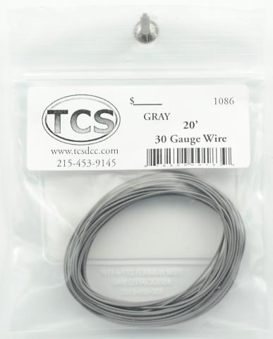 Train Control Systems TCS1086 30-Gauge Wire - 20'  6.1m Roll -- Gray