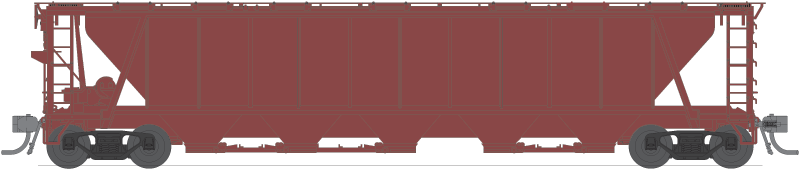 BLI 1890 H32 Covered Hopper, Unlettered, Freight Car Red, 4-pack, HO