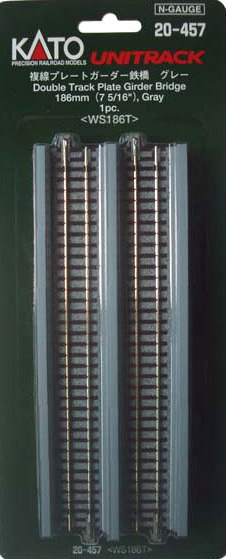 "Kato  Unitrack 20457 - 186mm (7 5/16"") Double Track Plate Girder Bridge, Gray, N Scale"
