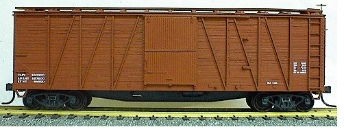 Accurail 4199  40' Outside Braced Boxcar (WOOD DOORS AND WOOD ENDS),  Data Only Oxide, HO