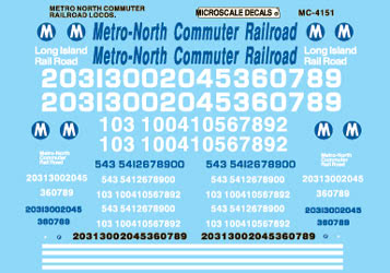 Microscale Inc 460-4151 MN Commuter RR Dsls '85+ Diesel - Hoods & Cabs - Waterslide Decal - N Scale