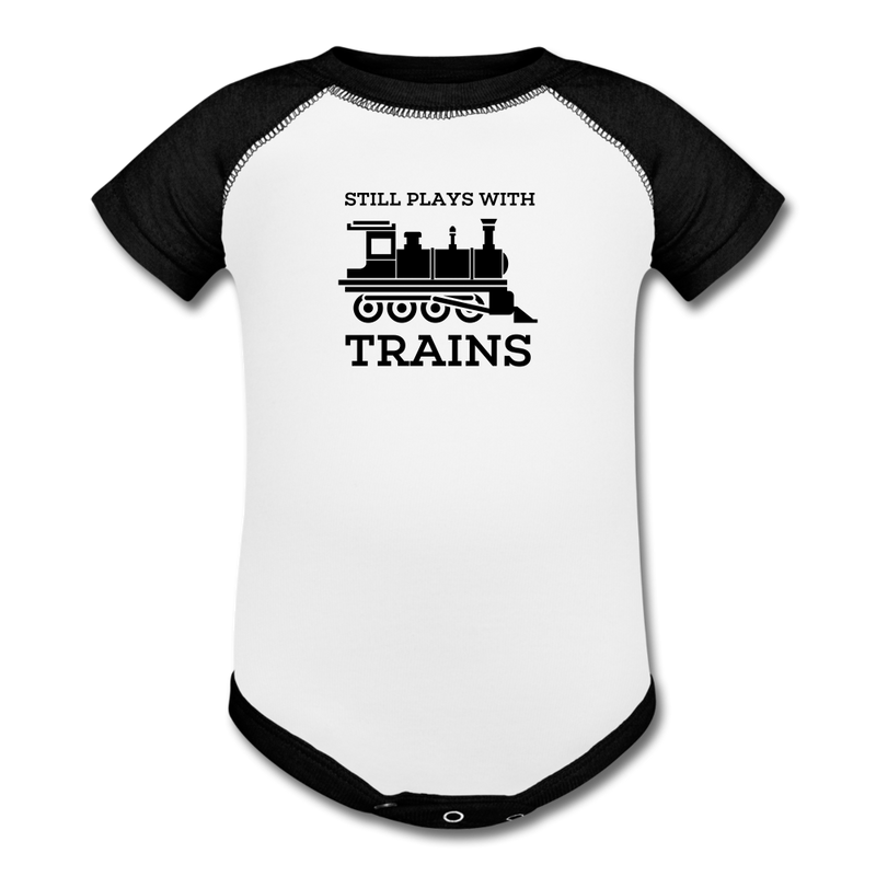 Still Plays With Trains - Baseball Baby Bodysuit Onesie - white/black