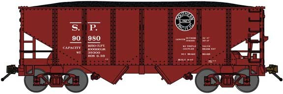 "Bluford Shops BLU60471 USRA 30'6"" 2-Bay Hopper with Load - Ready to Run -- Southern Pacific (Boxcar Red, black, Lines Logo), N Scale"