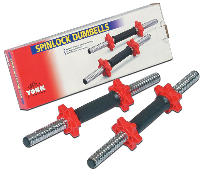 YORK 15″ Tubular Spinlock Dumbbell Handles w/ Red Collars