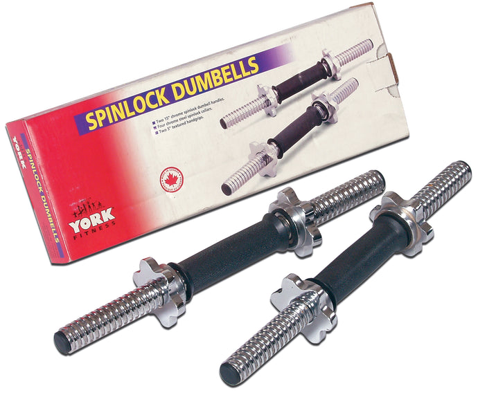 15″ Tubular Spinlock Dumbbell Handles w/ Chrome Collars ( PAIR )