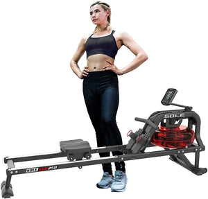 SOLE Fitness SRW250 Water Rowing Machine Indoor Gym LCD Target Workout Programs Cardio Trainin