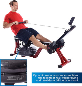 Stamina X Water Rower, Compact Rowing Machine with Heart Rate