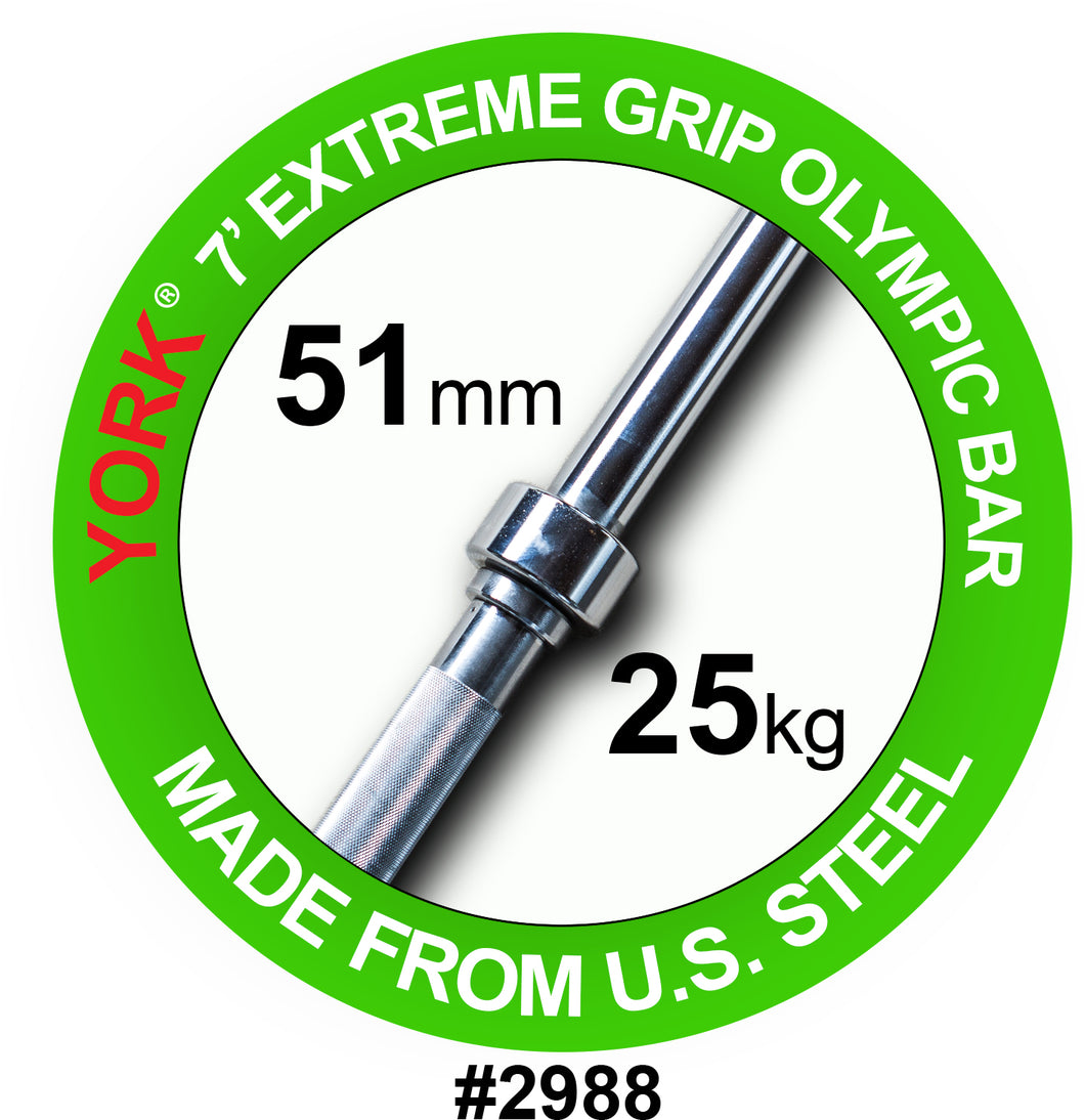 "YORK Extreme 2"" Grip Olympic Weight Bar"