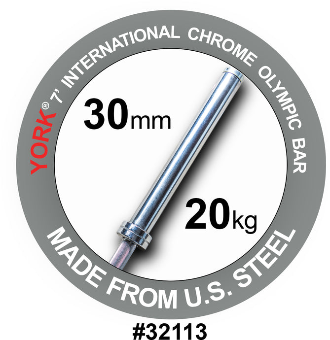YORK 7′ International Chrome Olympic Bar – 30mm