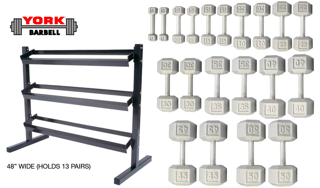 YORK CANADA DUMBBELL SET 5-50lb Cast Iron Hex Dumbbells With Deluxe 3 Tier Rack