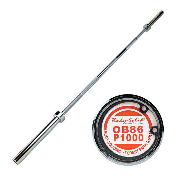 ( PRE-SALE IN STOCK JULY 12 ) BODY SOLID 7 FT. PREMIUM OLYMPIC POWER BAR 1000-LB CAPACITY (CHROME)