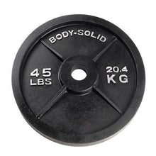 "Load image into Gallery viewer, Body Solid 2"" Black Cast Iron Olympic Plates - Each"