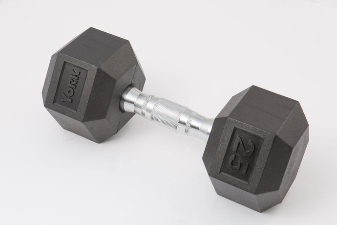 YORK Rubber Hex Dumbbell HALF INCS.