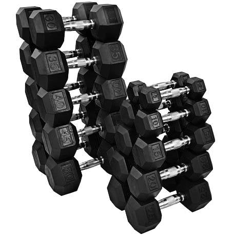 YORK 5-50lb York Premium PVC Hex Dumbbell – Chrome Ergo Handle – SET