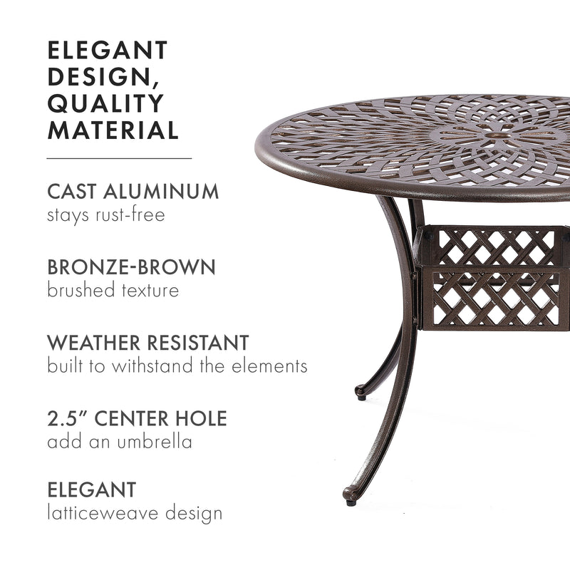 Kinger Home Outdoor Patio Dining Round Table, Cast Aluminum Rustic Large Patio Table with Umbrella Hole - Brown…