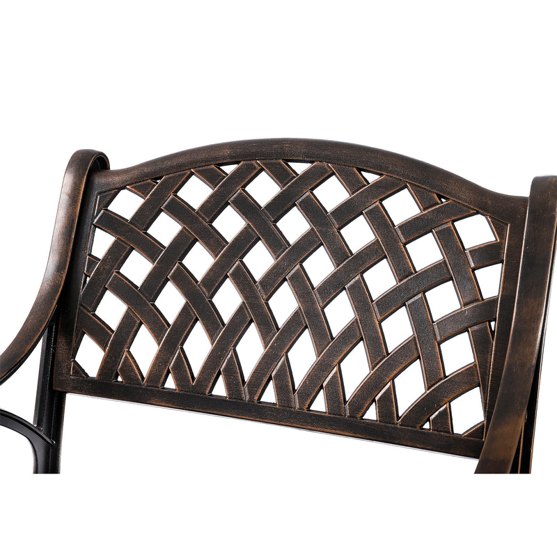 Kinger Home Patio Outdoor Dining Metal Chairs, Set of 2, Cast Aluminum, Lattice Weave Design - Antique Brown…