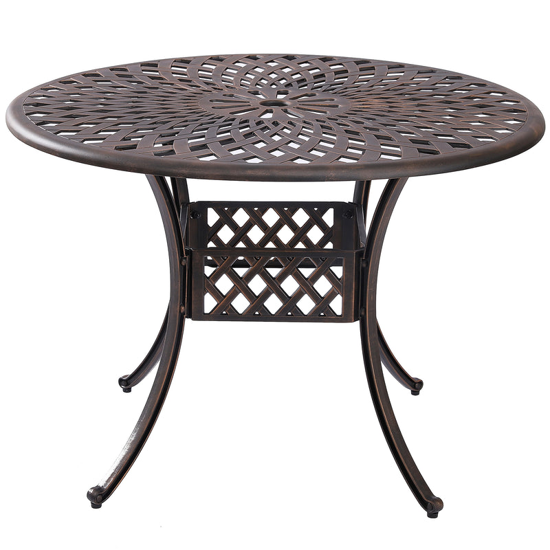 Kinger Home Outdoor Patio Dining Round Table, Cast Aluminum Rustic Large Patio Table with Umbrella Hole - Antique Brown