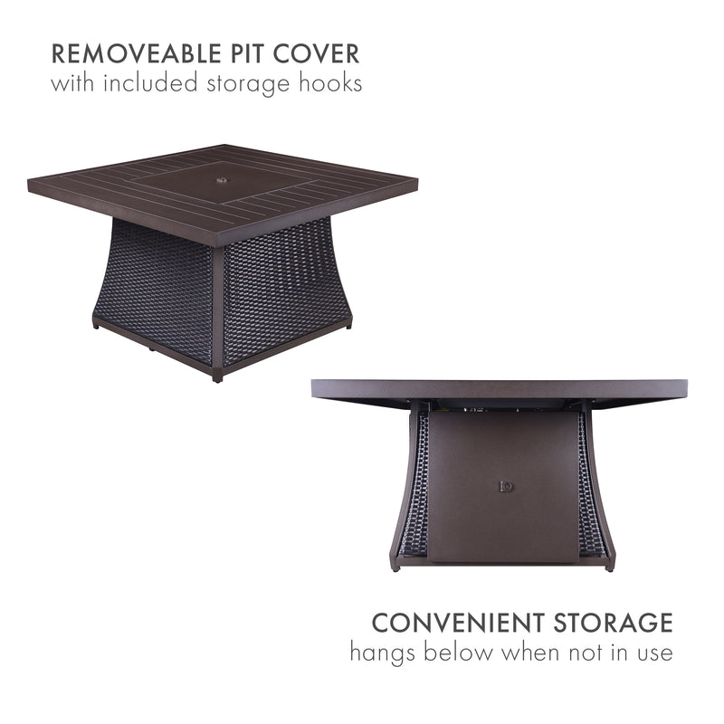Zain Fire Pit Table Set in Red