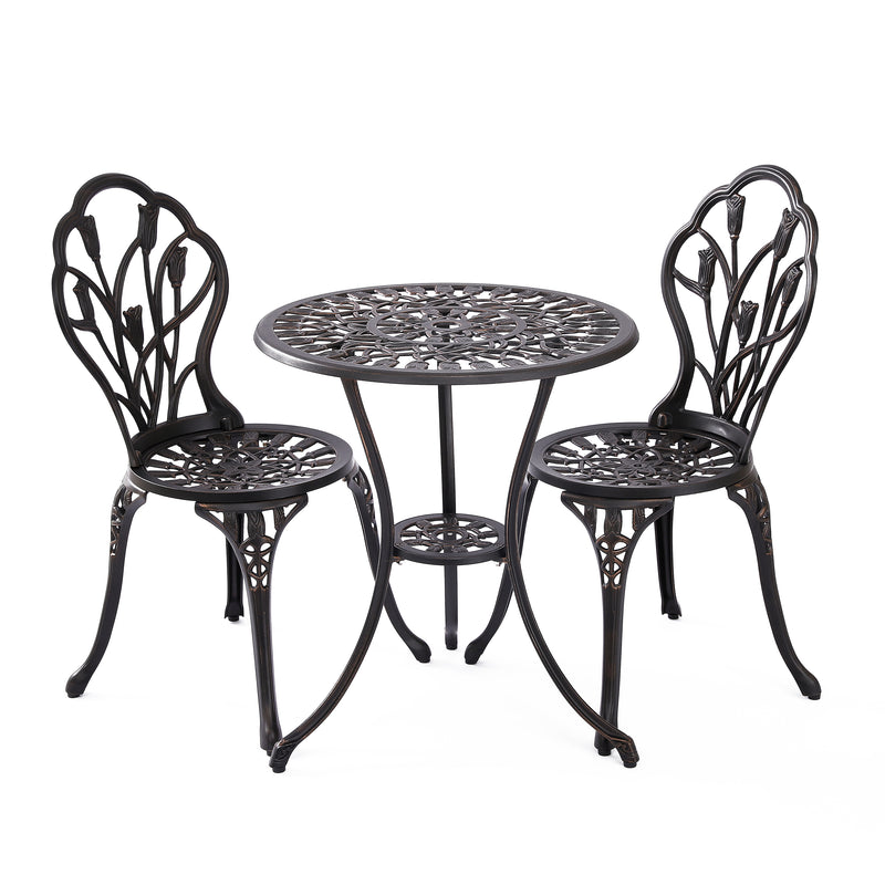 Tulip Bistro Table Set in Bronze