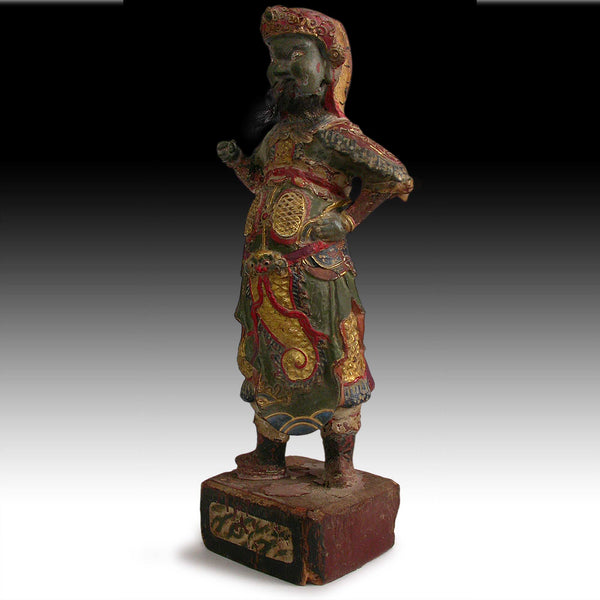 Antique Chinese Heavenly King Temple Guardian Polychrome Wood Carving 天王
