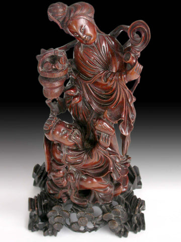 Taoist Immortals Drinking Banquet Antique Chinese Carved Boxwood Statue 八仙